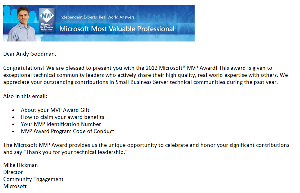 MVP Award Notice